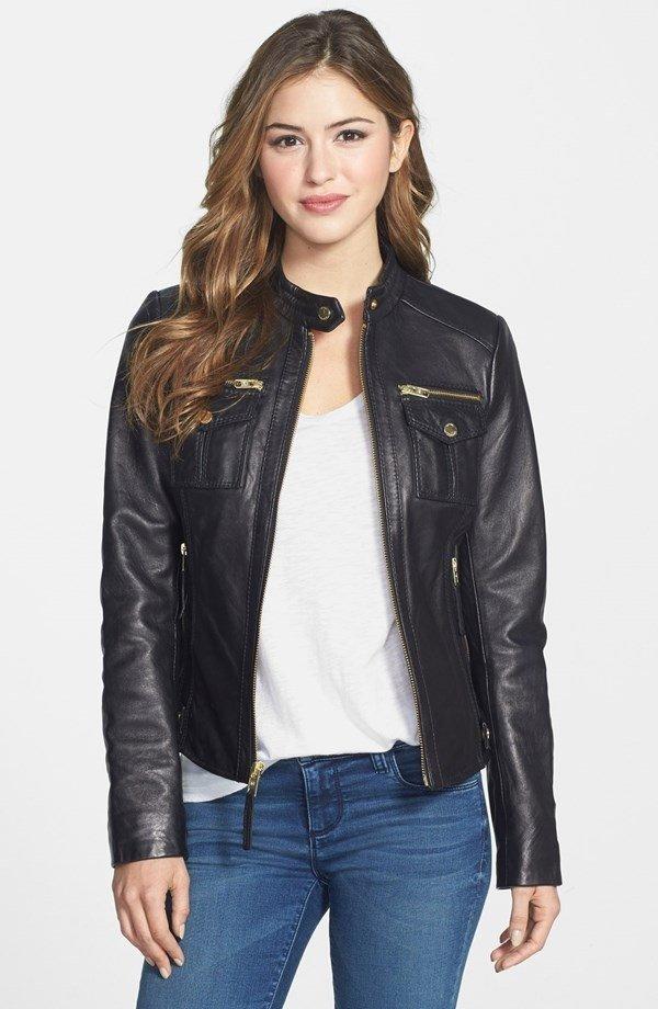 Michael Kors Patch Pocket Leather Jacket