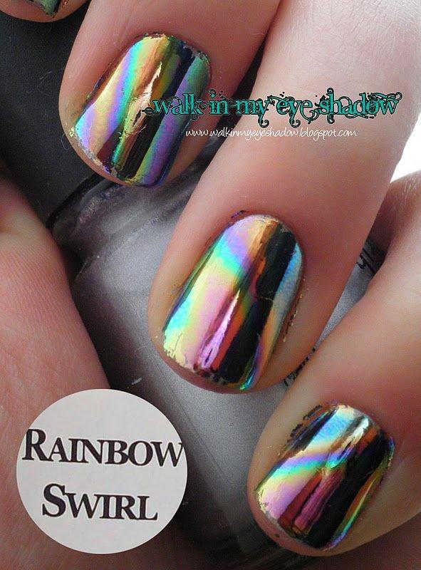 Rainbow Swirl - 38 Stunningly Fab Metallic Nail Art Ideas…