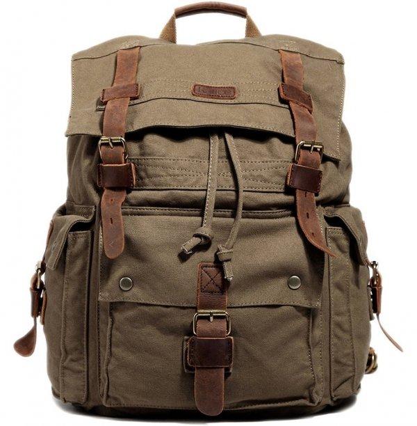 Kattee Vintage Canvas Leather Hiking Travel Backpack