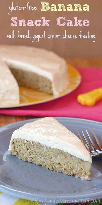Gluten Free Banana Cake with Greek Yogurt Frosting