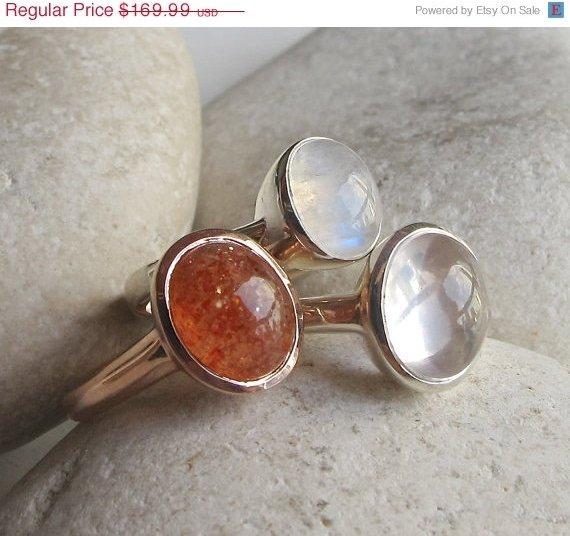 Sunstone Ring- Rose Quartz Ring- Moonstone Ring