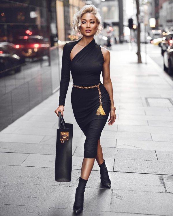 black, clothing, little black dress, footwear, dress,