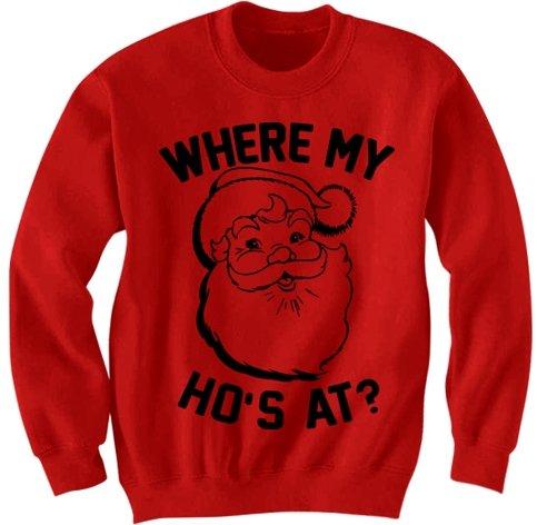 FUNNY CHRISTMAS SWEATshirt WHERE MY HO'S at