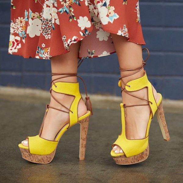 footwear, yellow, clothing, high heeled footwear, leg,