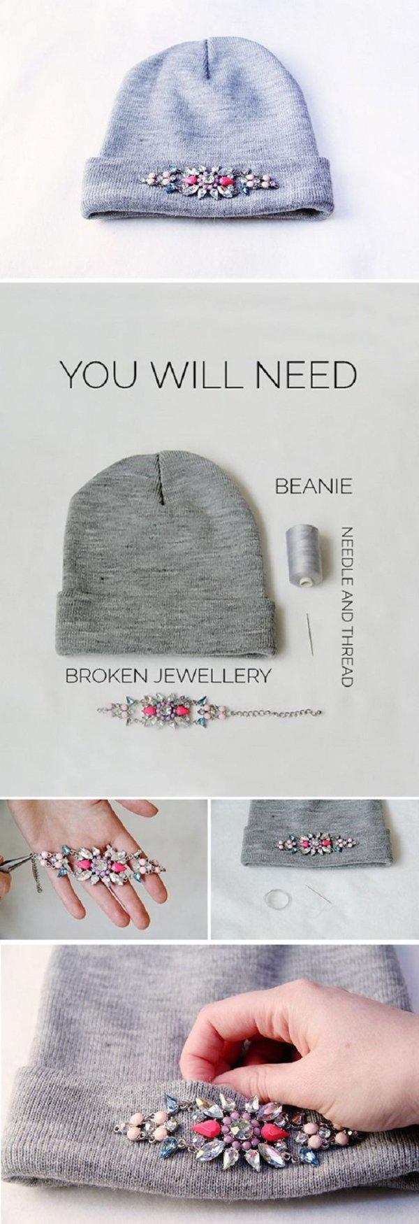 Beanie + Broken Jewelry = Magic