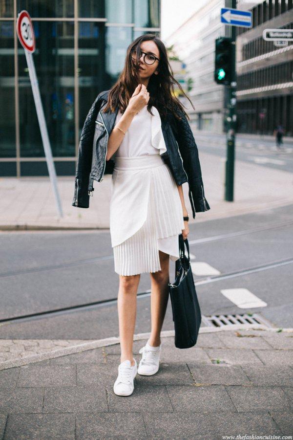 white, black, clothing, footwear, lady,