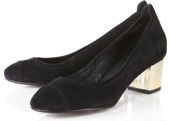Jarvis Black Suede Gold Block Low Heel Shoes
