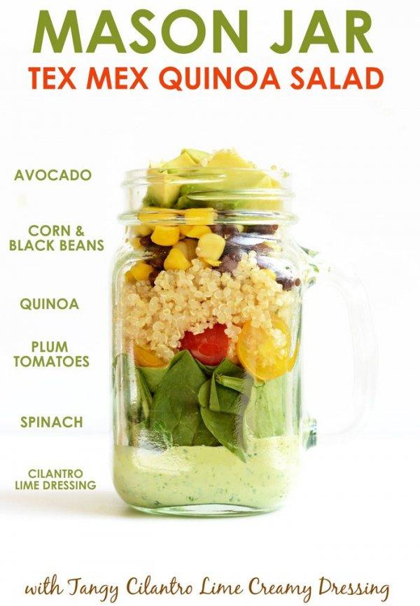 Mason Jar Tex Mex Quinoa and Tangy Cilantro Lime Creamy Dressing