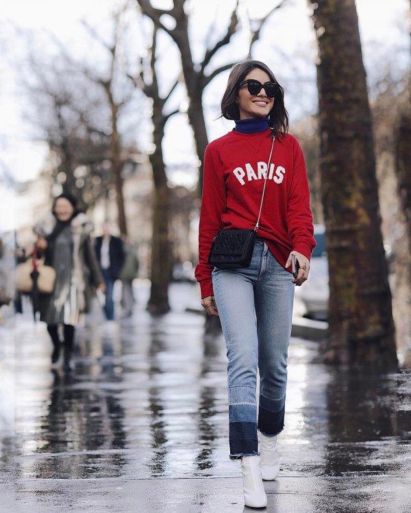 red, jeans, winter, footwear, road,