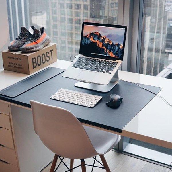 desk, furniture, room, table, desktop computer,