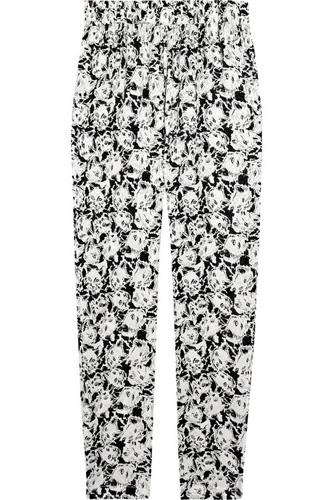 Paul and Joe Poum Cat-Print Silk-Crepe Pants