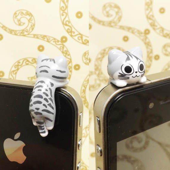 Stripe Hanging Grey Cat anti Dust Plug
