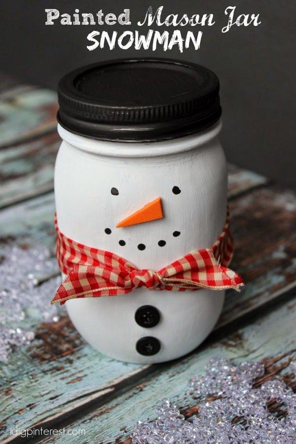 Painted Mason Jar Snowman Craft