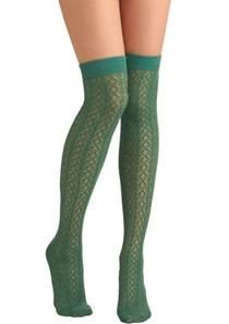 A Leg up Socks in Leafy Green