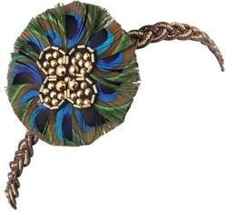 Braided Peacock Feather Headband