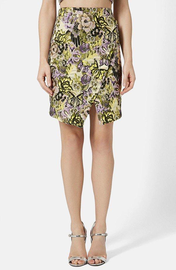 Jacquard Flower Wrap Skirt