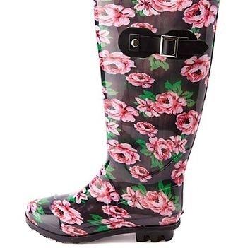 Rubber Floral Print Rain Boots