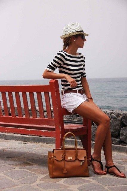 Stripes and White Shorts