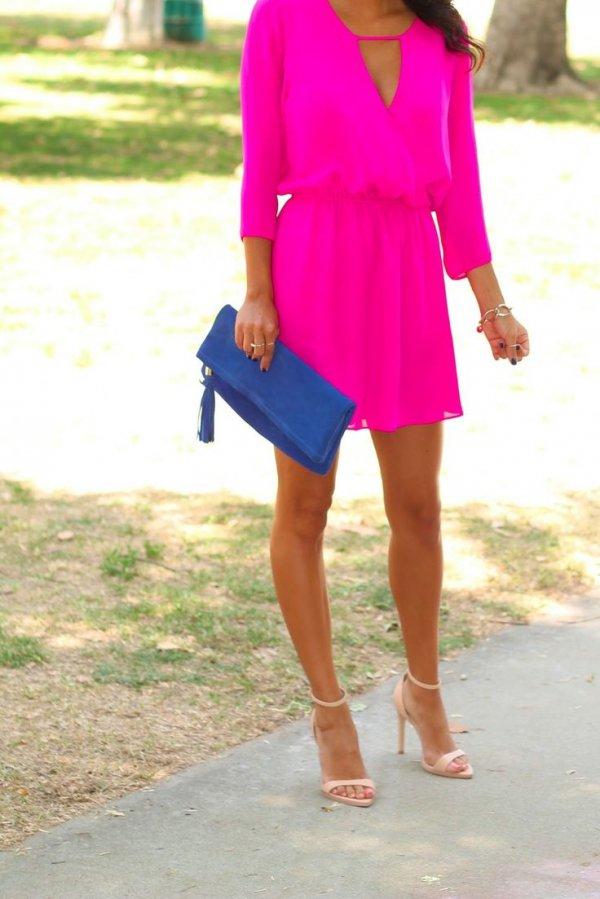 Blue Clutch with a Pink Dress