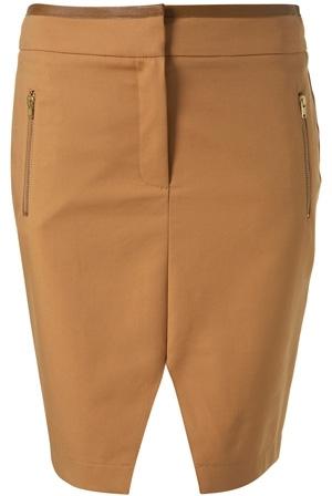 Topshop Caramel Faux Leather Trim Pencil Skirt