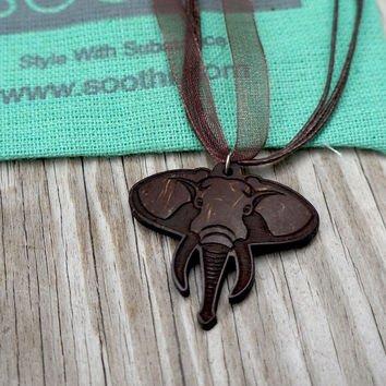Coconut Elephant Pendant