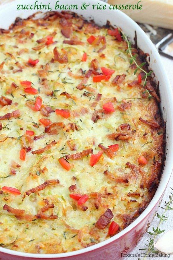 Cheesy Zucchini, Bacon and Rice Casserole
