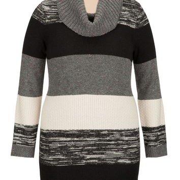 Plus Size - Cowl Neck Sweater Dress - Gray
