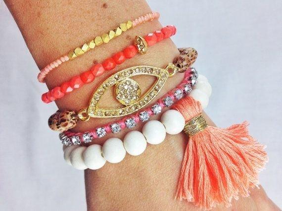 Coral Crush Bracelet Stack