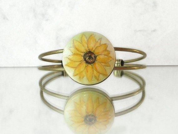 Yellow Sunflower Bangle Bracelet