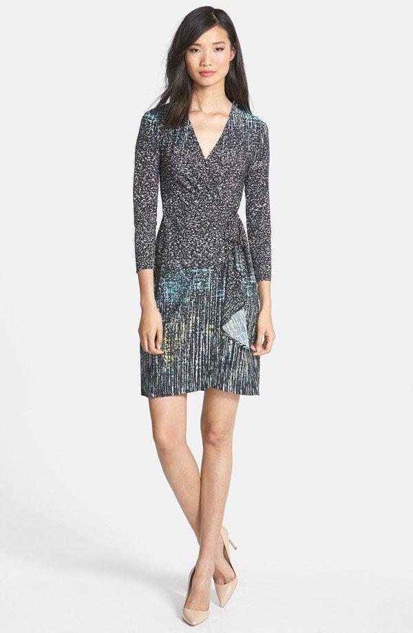 'Adele' Print Matte Jersey Wrap Dress - by BCBGMAXAZRIA
