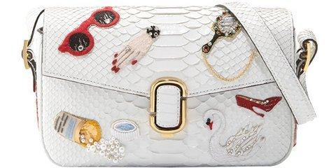 Marc Jacobs Embroidered Python Shoulder Bag