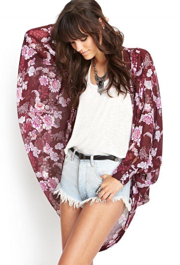 Rose Hue Floral Kimono