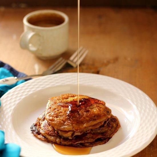 Eggless Banana Buttermilk Pancakes