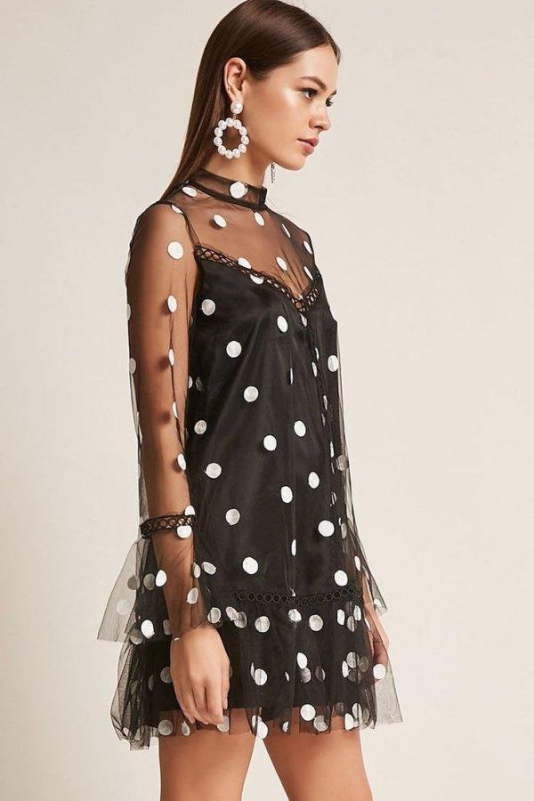 Clothing, Dress, Pattern, Polka dot, Day dress,