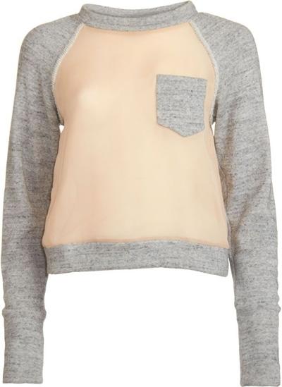 3.1 Phillip Lim Silk Contrast Sweat Shirt