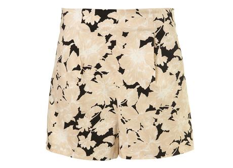 Topshop Black Shadow Floral Print Shorts