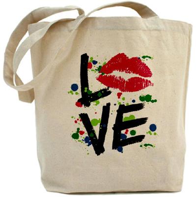 Artsmith Inc LOVE Lips Tote Bag