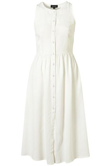 White Midi Dress - Topshop Button Front Midi Dress