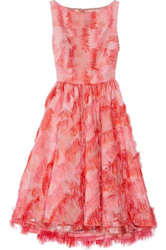 Lela Rose Fringed Jacquard Dress