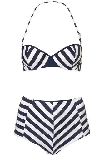 Topshop Stripe Retro Swimsuit