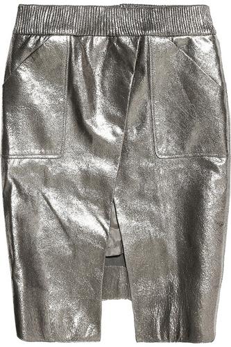 Karl Metallic Leather Skirt