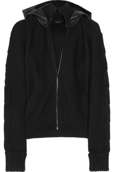 Joseph Leather Hooded Bomber Jacket