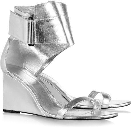 Karl Metallic Leather Wedge Sandals