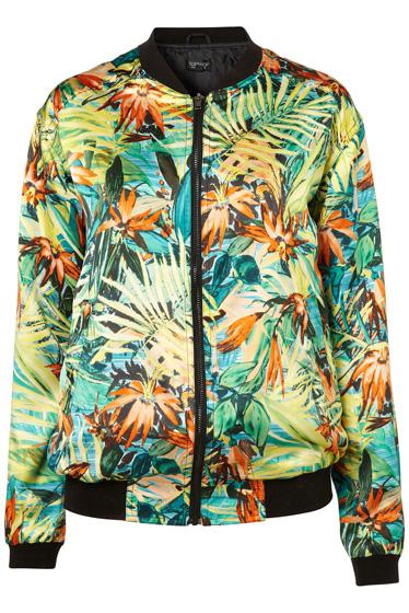 Topshop Hawaiian Floral Bomber Jacket