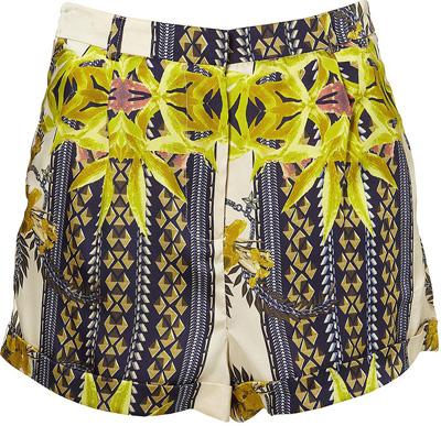 Topshop High Waist Scarf Print Shorts