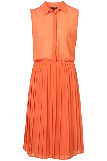 Topshop Pleat Midi Shirt Dress