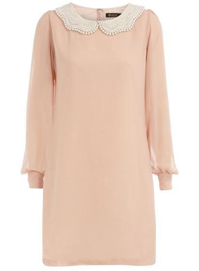 Dorothy Perkins Nude Pearl Collar Dress