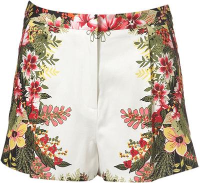 Topshop Tropical Mirror Print Shorts