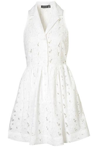 Topshop Crochet Sleeveless Shirt Dress