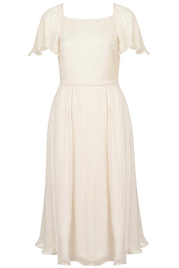 Waterfall Ruffle Midi Dress